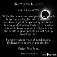 Daily Blog Nugget---21st of June 2020.